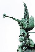 stock photo of angel-trumpet  - Statue of an angel with trumpet at the Berliner Dom  - JPG