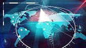 World Internet Atlas With Compasses, Clocks, Bits poster