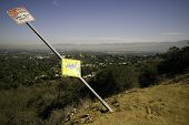 stock photo of san fernando valley  - Over the Edge No Stopping Anytime Sign - JPG