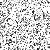 Black and white hand drawn seamless pattern with unicorns and rainbows. Vector background