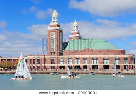 CHICAGO, IL - OCT. 1: Navy Pier and skyline on October 1, 2011 in Chicago, Illinois. It was built in 1916 as 3300 foot pier for tour and excursion boats and is Chicago's number one tourist attraction.