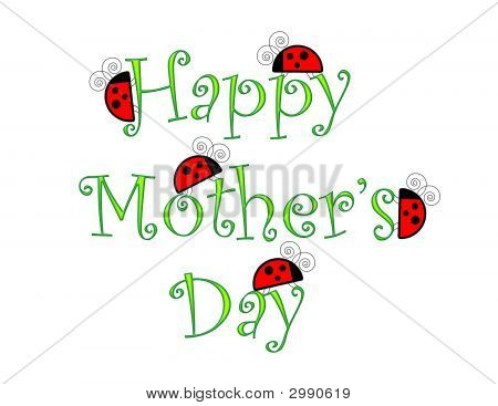 Happy Mothers Day With Ladybugs