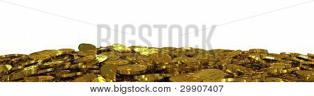 Many gold dollar coins