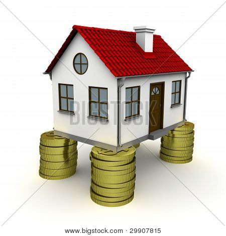 House with red roof stands on a foundation of dollar coins