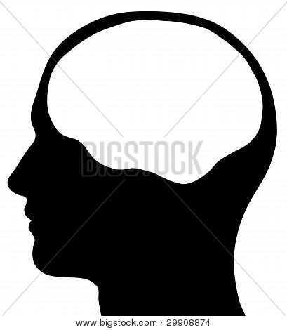 Male Head Silhouette With Brain Area