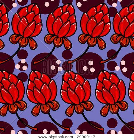 seamless texture with red flowers