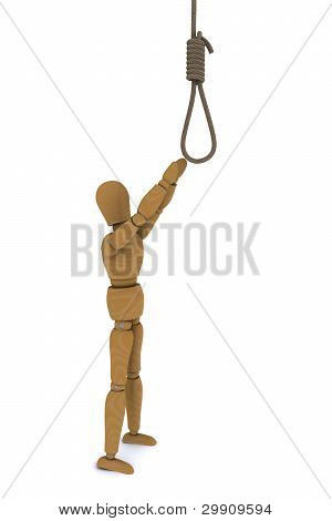 Wooden Doll pulls the arm to the gallows