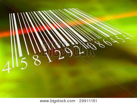 barcode scanned by barcode reader, an illustration of buying items electronically
