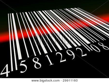 Código de barras escaneado por el lector de código de barras, una ilustración de comprar artículos electrónicamente