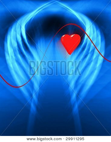 Medical Illustration, Chest x-ray with a beating heart under diagnosis (b)