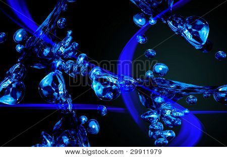 Imaginary 3D molecular structure; chemistry background (back to school series)