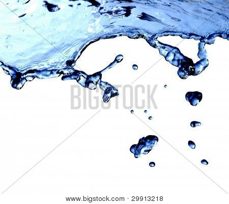 isolated macro waterdrops with splash; (water series B)