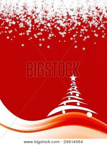 christmas theme; falling snow with christmas tree