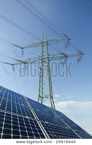 Solar Panels And Utility Pole With Wires