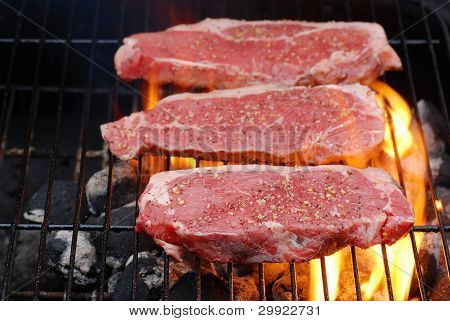 Barbecuing strip loin steaks