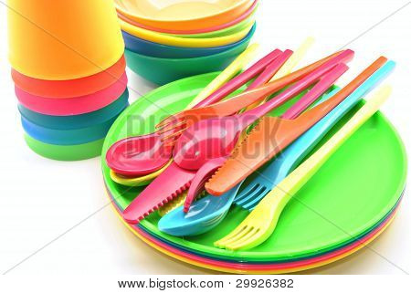 Utensílios de mesa de plástico