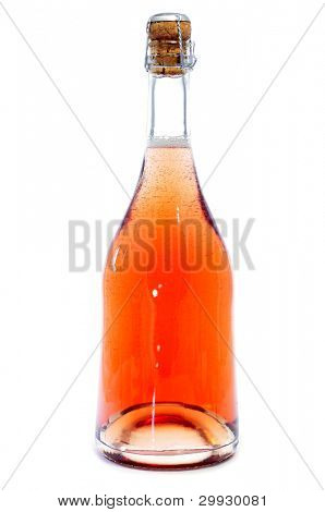 a bottle of rose champagne on a white background