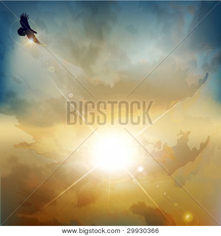 vector background with high-soaring eagle on a background of rising sun