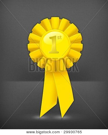 First place yellow ribbon, vector