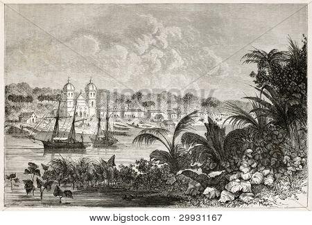 Igarape-Miri old view, Brazil. Created by Riou, published on Le Tour du Monde, Paris, 1867