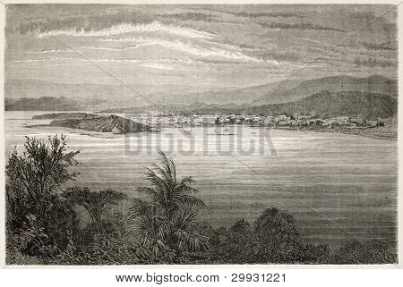 Numea old view, New Caledonia. Created by Moynet after photo of unknown author, published on Le Tour du Monde, Paris, 1867