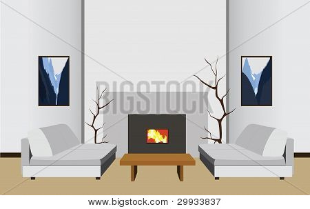 Interior Room With Fireplace, Vector Illustration