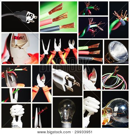 Collage of electrical instruments tools. Tools of electrician.