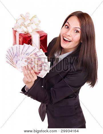 Woman with  money Russian rouble and gift box.  Isolated.