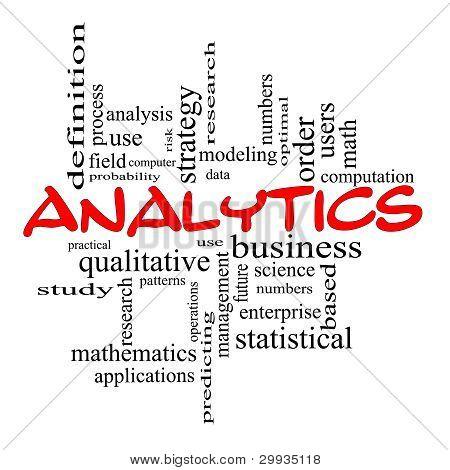 Conceito de nuvem de palavra Analytics em rabiscos vermelhos
