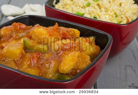 Sweet and Sour Chicken & Egg Fried Rice