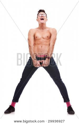 excited shirtless man screaming and looking up, on white background. sexy muscular man wearing glasses and no shirt shouting and looking up