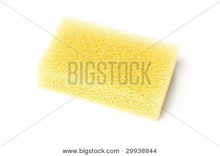 Yellow Synthetic Sponge Lying on White Background
