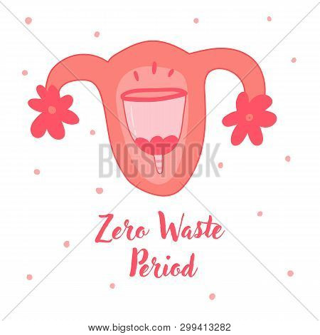 poster of Menstrual Cup Use, Feminine Period Hygiene Product. Image Of Reusable Blood Volume, Inserted To Vagi