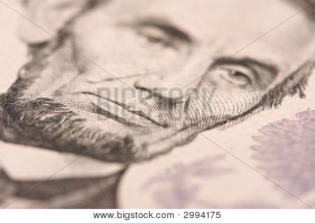Macro de Lincoln de Five Dollar Bill