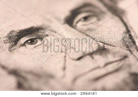 Macro Of Five Dollar Bill'S Lincoln