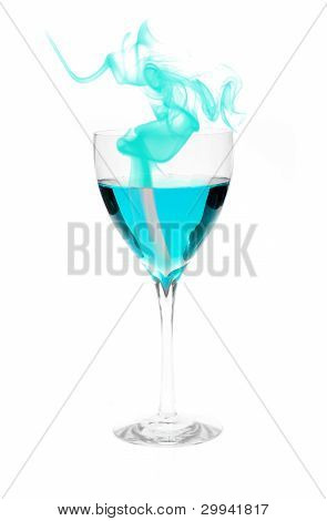 Blue Alcohol With Smoke