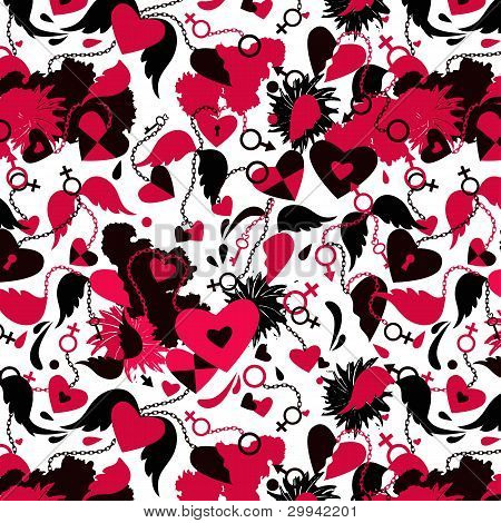 Brocken Hearts Seamless Background
