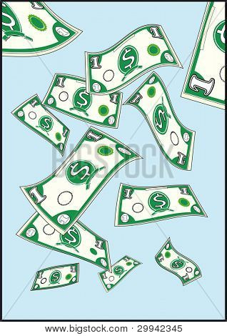 flying dollars. dollars are flying in a blue sky.
