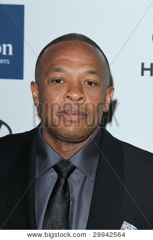 LOS ANGELES - FEB 11:  Dr. Dre arrives at the Pre-Grammy Party hosted by Clive Davis at the Beverly Hilton Hotel on February 11, 2012 in Beverly Hills, CA