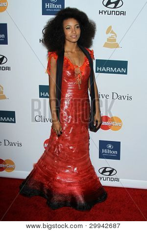 LOS ANGELES - FEB 11:  Esperanza Spalding arrives at the Pre-Grammy Party hosted by Clive Davis at the Beverly Hilton Hotel on February 11, 2012 in Beverly Hills, CA