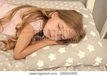 poster of Sweet Dreams. Girl Child Long Hair Fall Asleep Close Up. Quality Of Sleep Depends On Many Factors. C