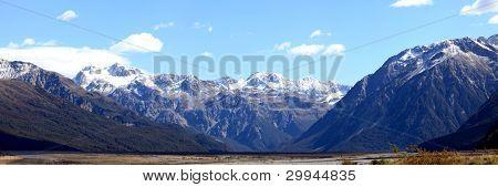 Panorama southern alpine alps mountain range Arthur's pass National Park New Zealand