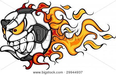 Futebol bola flamejante Face Vector imagem