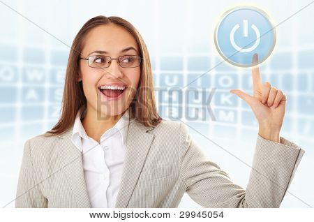 Creative photo of happy businesswoman pressing set on button