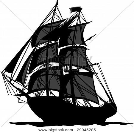 Piratenschiff mit Schatten in Segel Grafik Vektor-illustration