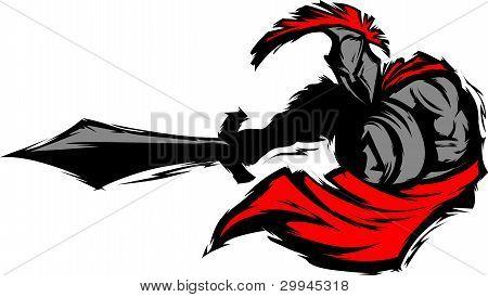 Mascota de silueta Trojan espartano punzante con espada y escudo Vector de la imagen