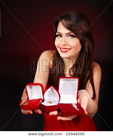 Girl holding jewellery gift box.  Valentines day.