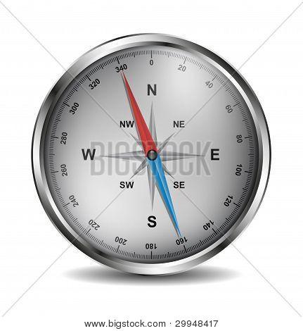 Realistic silver compass