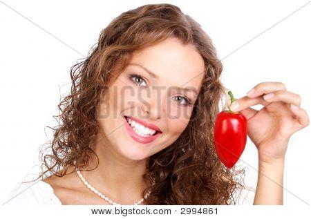 Mulher com pimentão.
