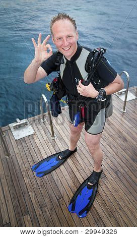 Scuba Diver Showing Ok Sign